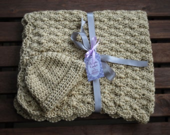 Crochet Baby Blanket with Matching Hat - Bone, khaki, Beige