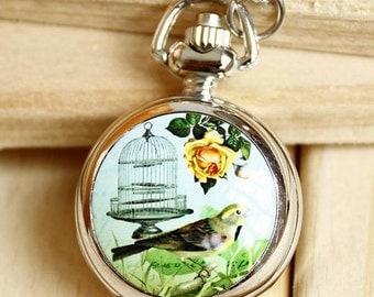 1pcs bird birdcage with  flower pocket watch charms pendant    25mmx25mm
