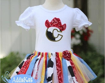 Cowgirl Fabric Tutu Skirt Outfit - Red Bandanna - Cow Print - Personalized