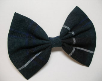 Tuxedo School Uniform Tartan Plaid Simple Basic Traditional Large 5 inch Hair Bow Toddler Girl