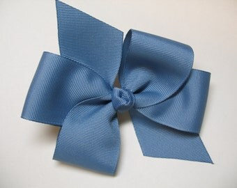 Chambray Blue Hair Bow Simple Traditional Basic School cheer uniform