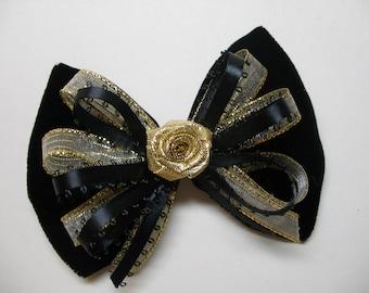 ELEGANT Black Velvet Hair Bow Handmade Dressy Gold Holiday Christmas Flower Girl Pageant Boutique