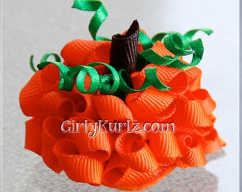 MINI Pumpkin Hair Bow, Halloween Hair Bow, Fall Hair Bow, Thanksgiving Hair Bow, Pumpkin Bow, Ribbon Sculpture