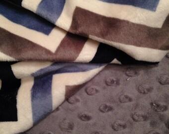 Minky Chevron Baby Crib Blanket, Baby Boy Blanket, Baby Girl Blanket, Neutral Baby Blanket, Crib Size Baby Blanket 36 x 45