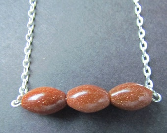 goldstone necklace - goldstone pendant - goldstone jewelry - goldstone - sparkly necklace -stone necklace - sandstone necklace -