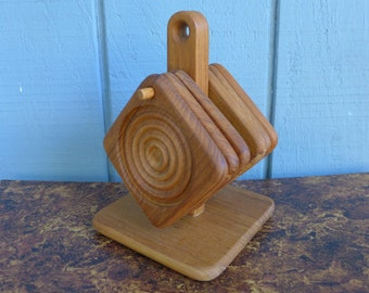 Set of 6 Teak Coasters with Stand Concentric Circles Rings Goodwood Thailand Danish Modern Mid Century