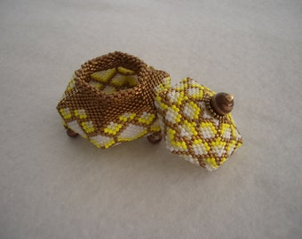 Bronze, Yellow, and White Tuffet Style Beaded Box