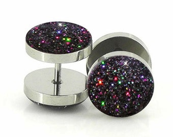 Charcoal Holographic Glitter Plugs - Fake 7mm ,12mm,14mm- 18g