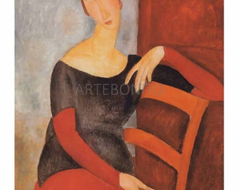 Modigliani 'J. Hebuterne on red chair' limited edition & numbered Giclees