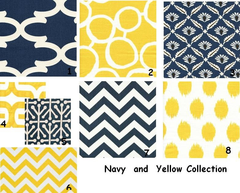 Decorative Throw Pillow Covers Navy and Yellow Two by ThePillowCo