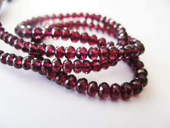 Rhodolite Garnet Rondelles, AAA , Micro Faceted, aaagems, 3-4mm, 8 inches