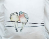 16x16 Pastel Love Birds Phone line Wedding Valentines Day animal Telephone Wire Throw Pillow Pigeons Robin Sparrow flock winter fall spring - UrbanWorksTextiles
