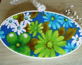 Happy Vintage Floral Fabric Hoop Art - Blue Green & White Mod Floral - Glossy White Oval Hoop