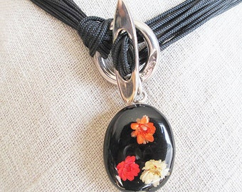 "Cameo flower choker, red flowers silver lariat black cameo choker necklace, edgy red flower black cameo choker, black cords 15 1/2"" choker"