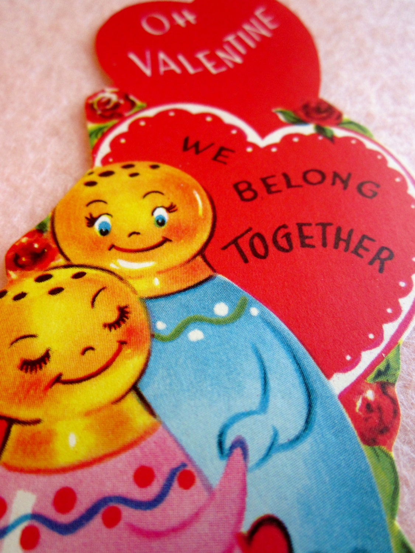 vintage valentines day card unused 1950s oh valentine we