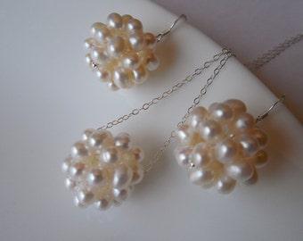 PearlCluster, Bridal Set, Bridesmaids Set, A Grade Pearl Cluster Set, Classic Bridal Set, Weddng Jewelry