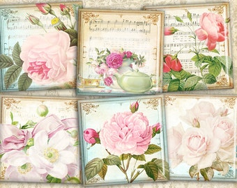 Shabby flowers on Printable 1inch & 2 inch squares Digital collage sheet best for jewelry making, magnets making - VINTAGE FLOWER SQUARES