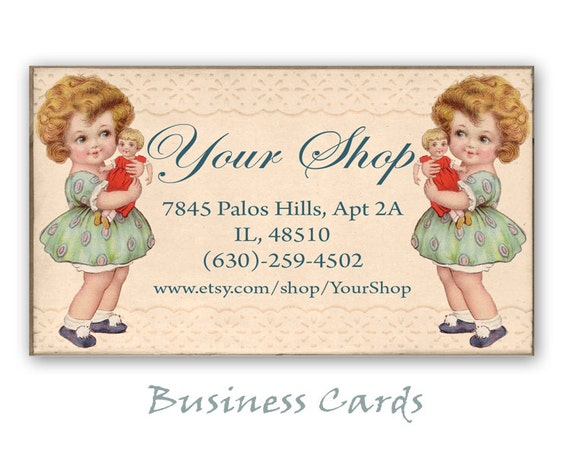 Printable business cards for etsy shop on digital collage for Etsy shop business cards