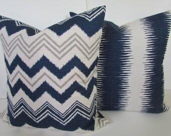 PILLOWS SET of 2. Navy Blue Throw Pillow Covers 18 x 18 Blue Denim Chevron Ikat Dark Blue Decorative Throw pillows