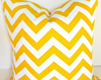 YELLOW PILLOW COVER Yellow Chevron Throw Pillows 18x18 20 Yellow Decorative Throw Pillows Yellow Chevron Pillow .All Sizes. Home and Living