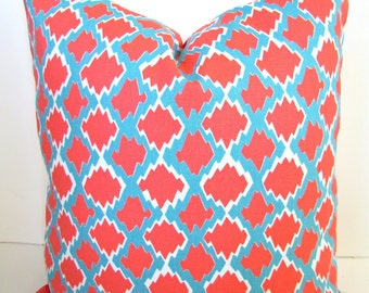 CORAL PILLOW COVER Turquoise and Coral Pillows Turquoise Throw Pillows 16x16 18 20 Aqua Blue Pillow Covers Blue Turquoise Home and Living