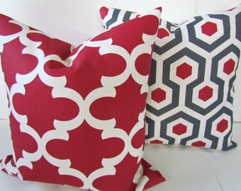 Gray PILLOWS SET of 2.  Gray Red Throw Pillows Gray Throw Pillow Covers 16 18x18 20 .All Sizes. Moroccan Red Pillow Covers Quatrefoil