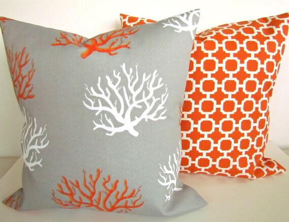 Items similar to Sale THROW PILLOWS SET Of 2 - 20x20 Grey Orange Coral Outdoor Throw Pillow ...