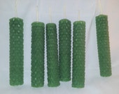 Set of 6 Green Beeswax Spell Candles