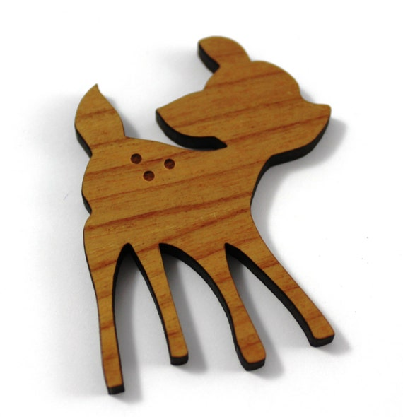 Laser Cut Supplies-1 Piece.Fawn Charms - Cherry Wood Laser Cut Fawn -Brooch Supplies-  Little Laser Lab Sustainable Wood Products