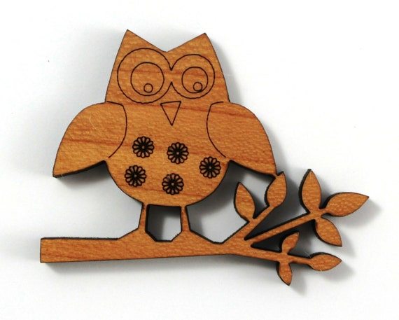 Laser Cut Supplies-1 Piece.Floral Owl Charms - Cherry Wood Laser Cut Owl -Brooch Supplies- Little Laser Lab Sustainable Wood Products