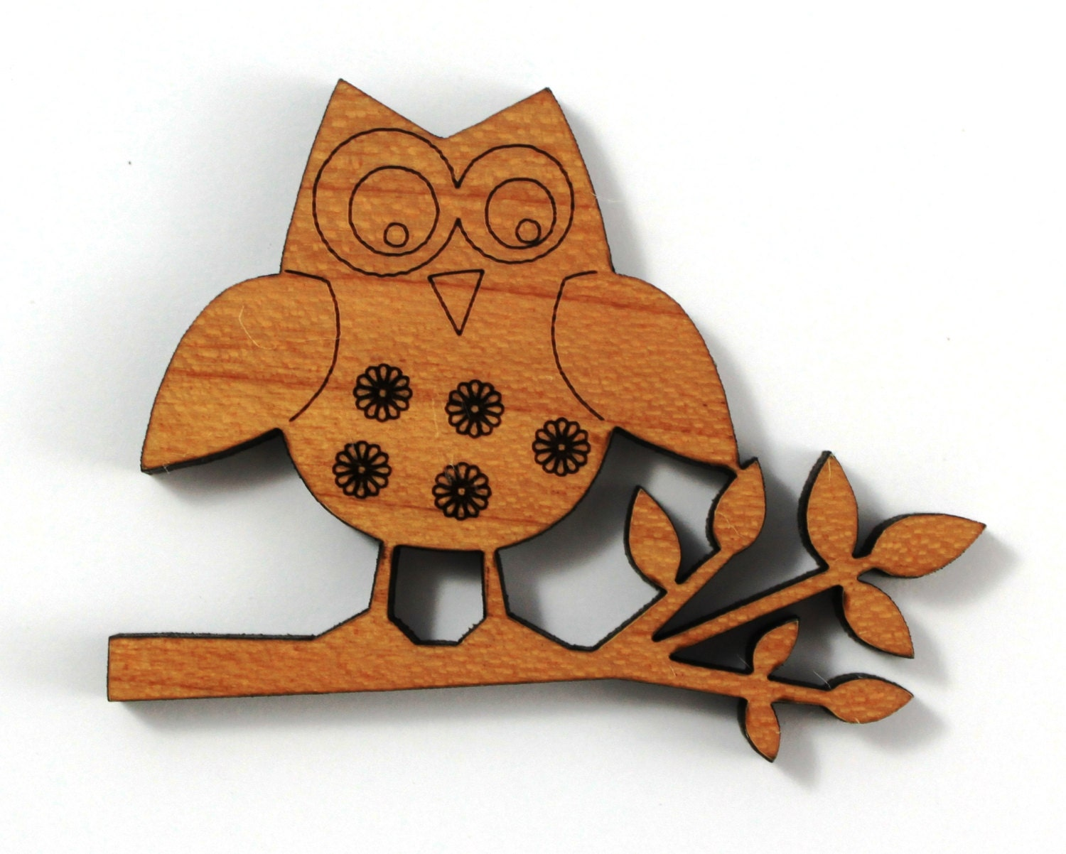 Laser cut supplies 1 piece floral owl charms cherry wood for Skilled craft worker makes furniture art etc