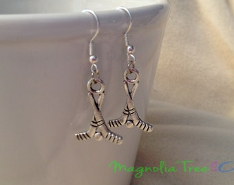 HOCKEY Earrings, Silver Charm Earrings Hockey Fan Silver Hockey Stick Earrings