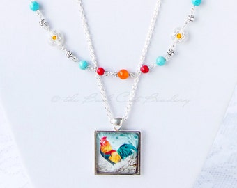 SALE! Beautiful Rooster Jewelry Set Necklaces, Bracelet and Earrings in Red Orange Blue and Silver