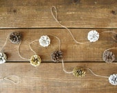Pine cone garland - 6' gold, white and natural pinecone mantle garland