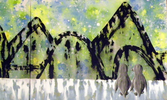 RESERVED for Corey - Custom Penguin Painting 32'' x 12''