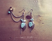 Silver Exotic Dangling Ear Cuff Set with Delicate Turquoise Leaves, Angel Wings