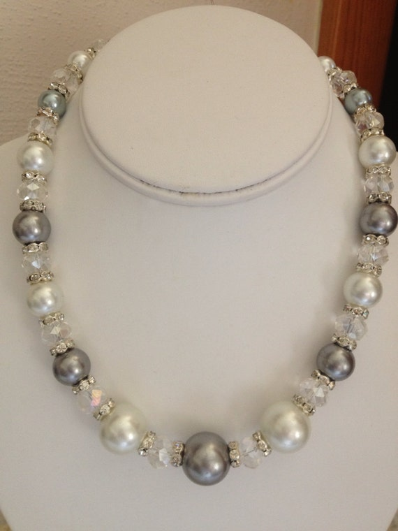 Large Pearl And Swarovski Necklace Etsy