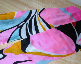 1960s silk scarf with hand rolled edges 48 1/2 x 6