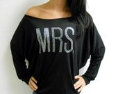 MRS Off Shoulder Shirt. Charcoal Gray MRS Off The Shoulder Sweatshirt. Bride Gift. Bachelorette Party Shirt. Gray Black Off Shoulder Shirt.