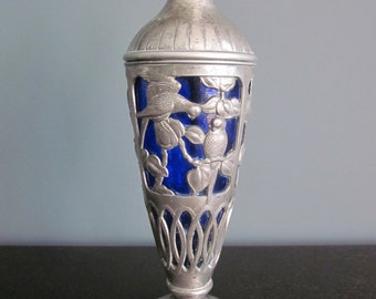 Vintage Bohemian art glass vase in Art Nouveau style - blue with silver overlay