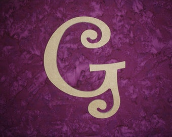 "Unfinished Wood Letter G Wooden MDF Letters 6"" Inch Tall Curls"