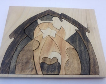 Deluxe stained wooden nativity puzzle
