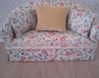 dolls house sofa  shabby chic style.