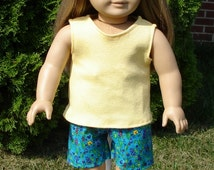 Wildflowers on Blue Shorts and Tank Top Oufit made to fit 18 inch dolls