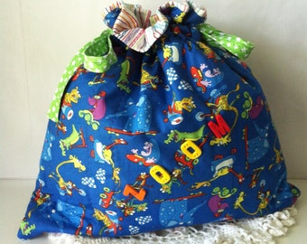 Z O O M - Quilted Drawstring Bag - Toy Bag - Baby Bag - Daycare Bag
