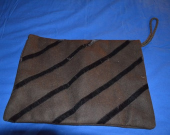 ON SALE   Vintage Edwardian Brown Wool Muff with Velvet Trim