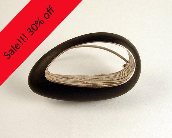 OVOINCRUSTOIDEO Mokume Gane Ebony Wood Silver BROOCH