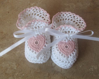 Little White and Pink Heart Crocheted Baby Booties