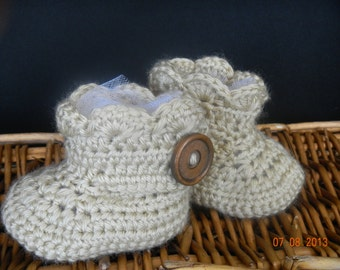 Crochet Tan Baby Ugg Boots with Scalloped Edge and Wood Button Trim