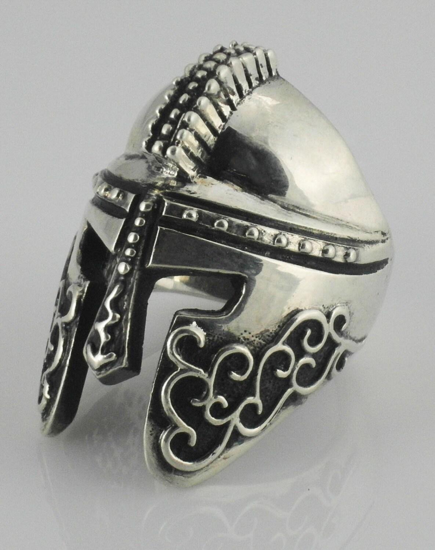 royal 925 biker jewelry spartan helmet ring sterling silver